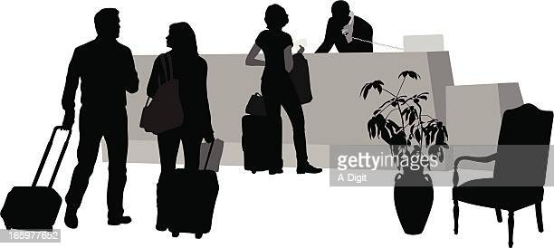 front desk vector silhouette - hotel reception stock illustrations, clip art, cartoons, & icons