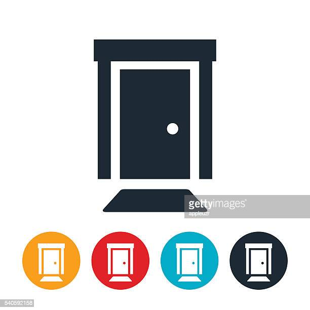 front door icon - entrance stock illustrations, clip art, cartoons, & icons