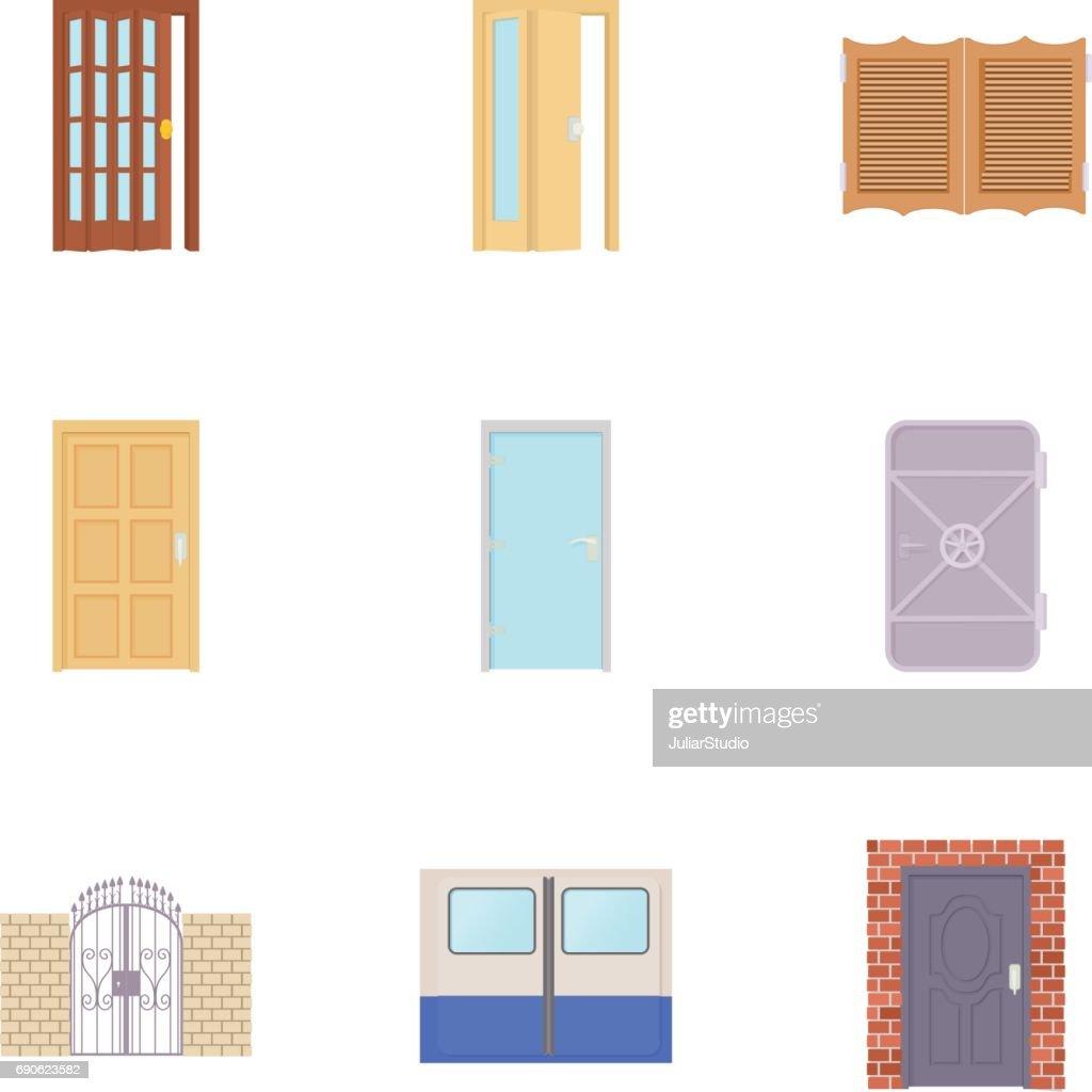 Front Door Icons Set Cartoon Style Vector Art Getty Images