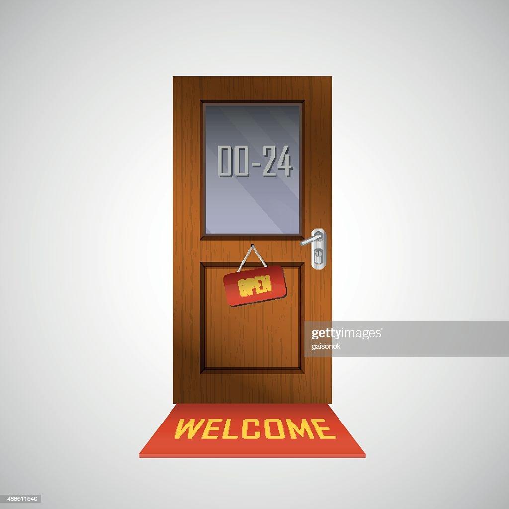 Front door is open around clock with a sign
