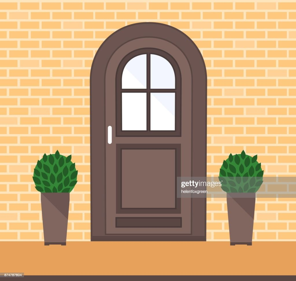 Front Door On The Brick Wall With Two Pots With Plants Vector Art ...