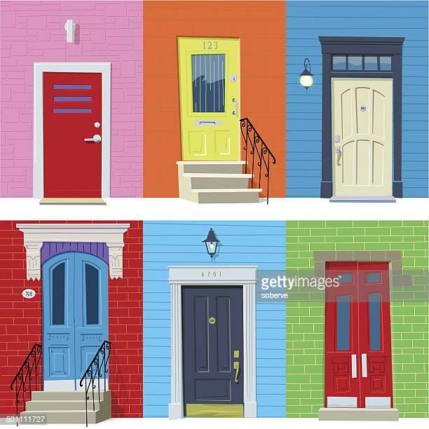front doors - handle stock illustrations, clip art, cartoons, & icons