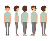 Front, side, back view animated character. Designer character creation set with various views. Cartoon style, flat vector illustration of smiling boy with short hair in casual clothes.