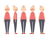 Front, side, back view animated character. Designer character creation set with various views. Cartoon style, flat vector illustration of smiling girls with blonde hair in casual clothe.
