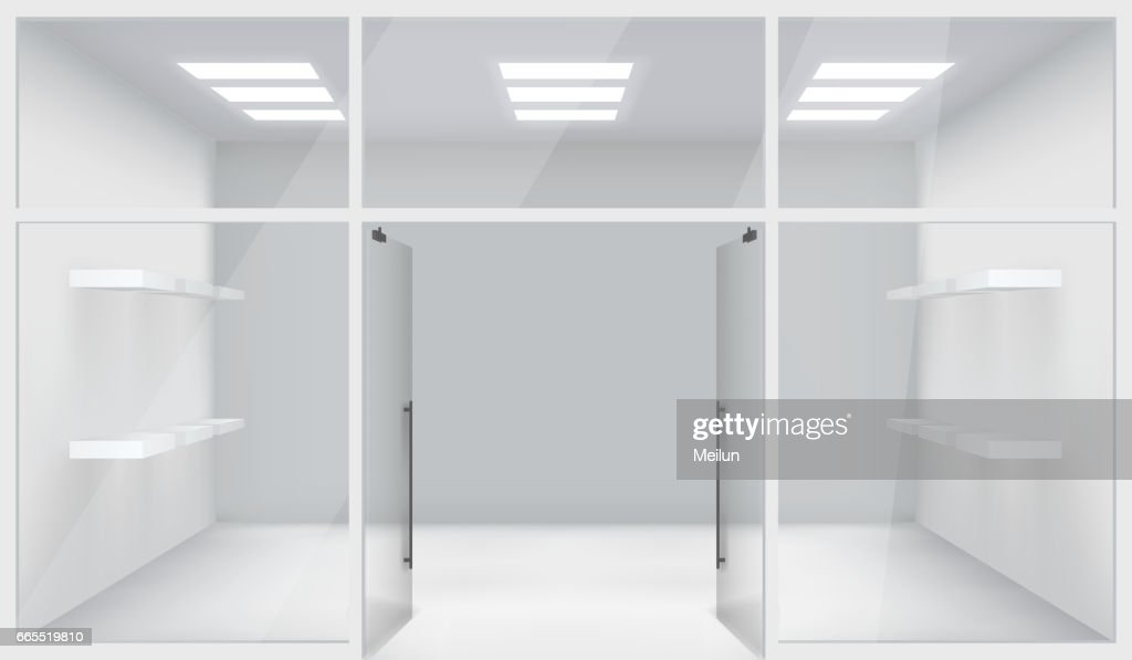 Front Store Shop 3d Realistic Space Open Doors Shelves Template Mockup Background Vector Illustration