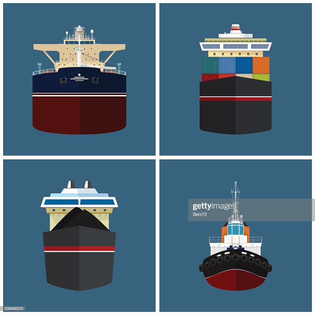 Front View of a Cargo Ship
