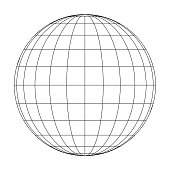Front view of planet Earth globe grid of meridians and parallels, or latitude and longitude. 3D vector illustration