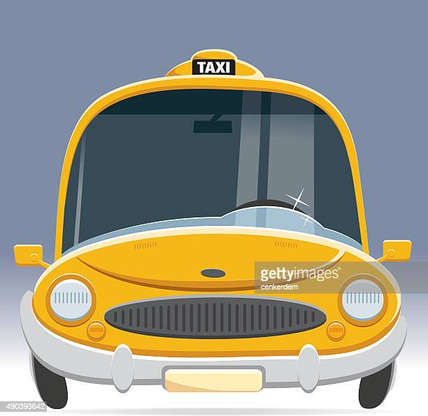 front view taxi - yellow taxi stock illustrations, clip art, cartoons, & icons