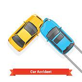 Frontal 90 degree car crash road accident