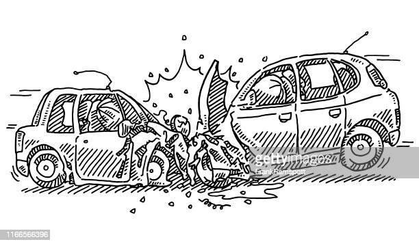 ilustrações de stock, clip art, desenhos animados e ícones de frontal crash car accident drawing - acidente de carro
