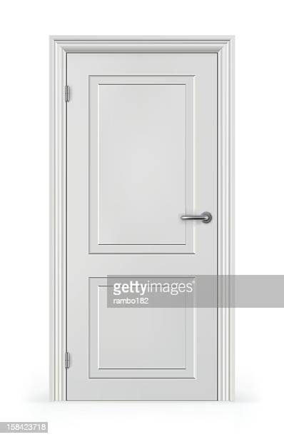 frontal view of a closed white door - door frame stock illustrations, clip art, cartoons, & icons