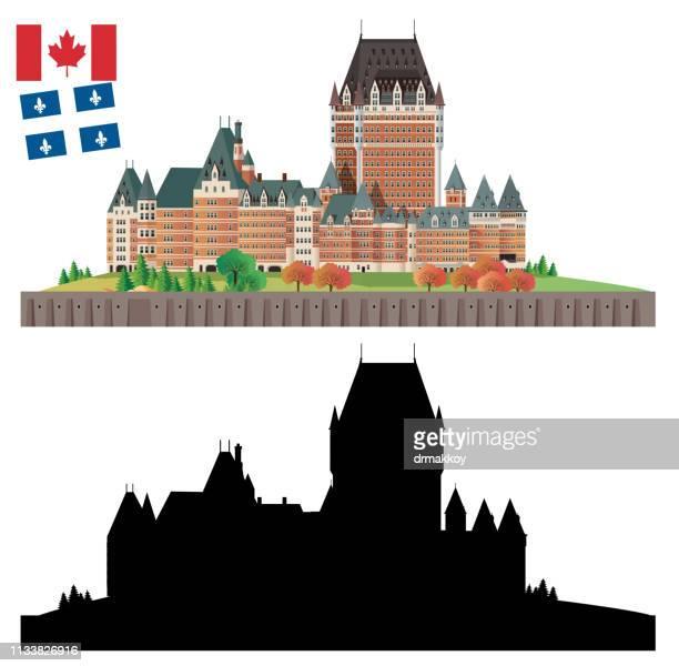 frontenac castle - quebec city stock illustrations