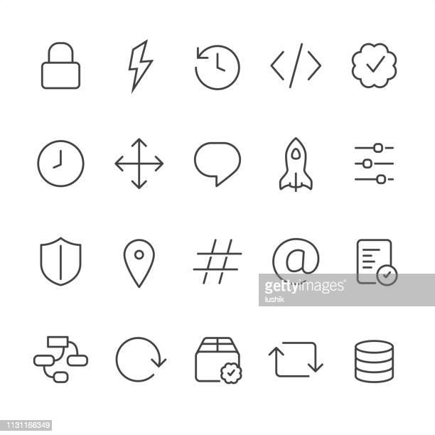 front-end and back-end outline vector icons - endopack stock illustrations