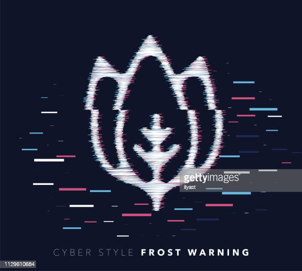 frost warning glitch effect vector icon illustration - frost stock illustrations, clip art, cartoons, & icons