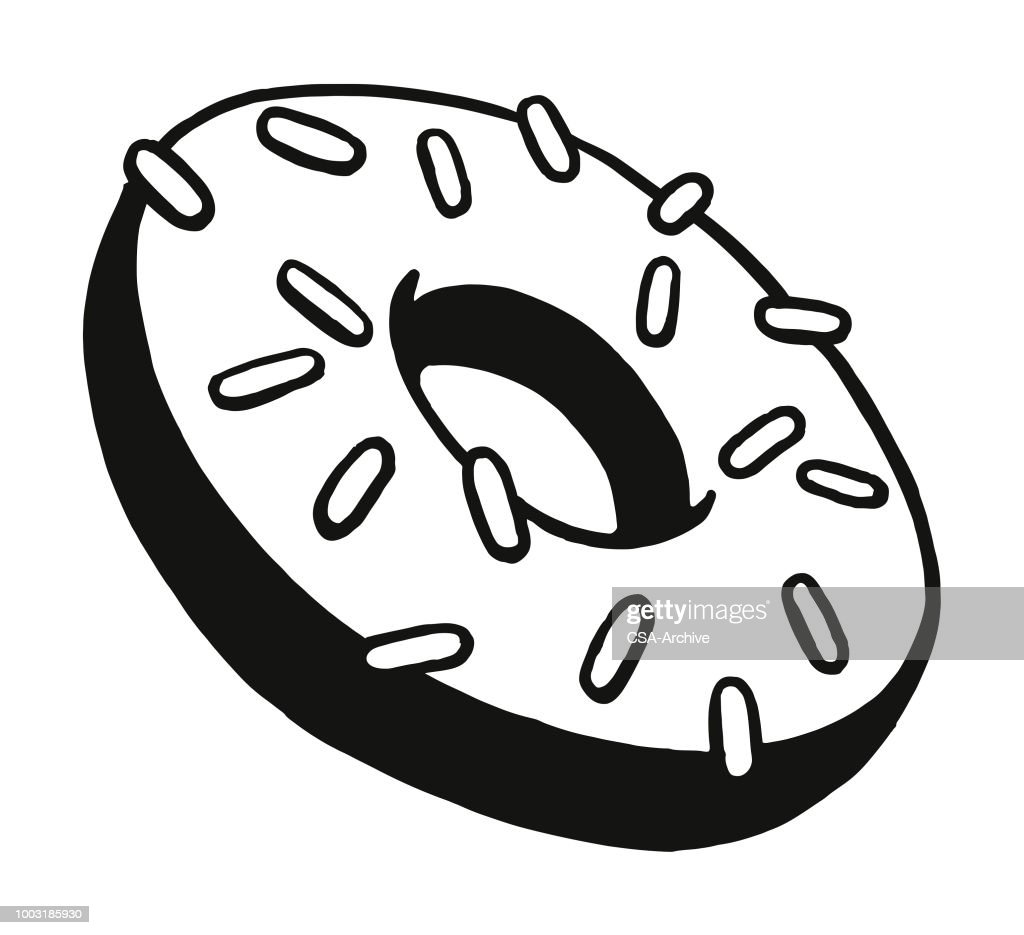 Frosted Donut with Sprinkles : stock illustration