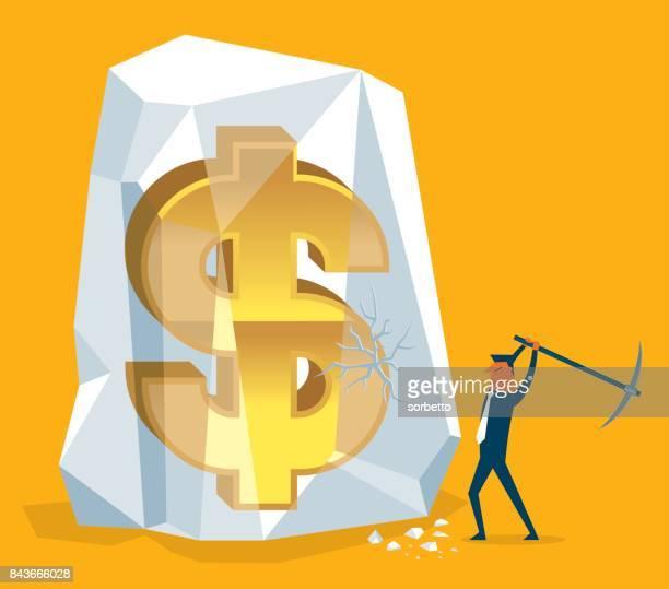 Frozen Assets - Businessman Digging Money