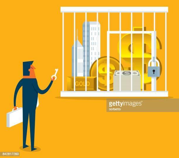 frozen assets - businessman - subprime loan crisis stock illustrations