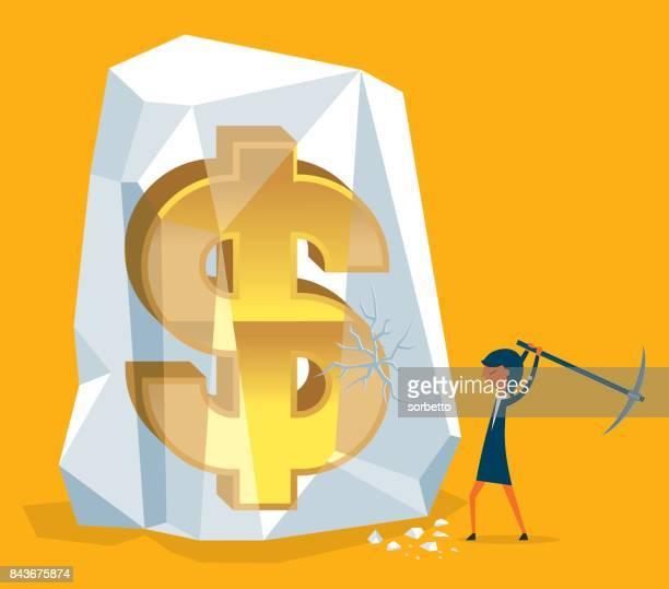 Frozen Assets - Businesswoman Digging Money