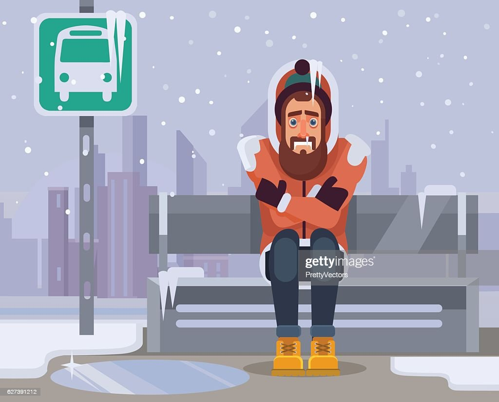 Frozen man character waiting for bus for long time