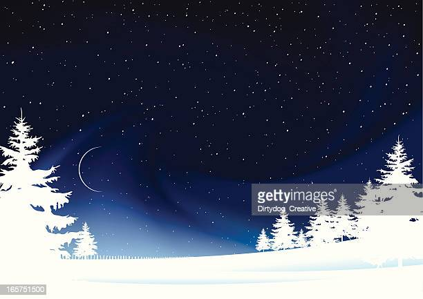 frozen winter landscape stars snow and moon - aurora borealis stock illustrations
