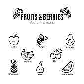 Fruit and Berries icon set. Vegan natural bio pictograms. , bananas, grapes, avocado, watermelon and others organic food signs