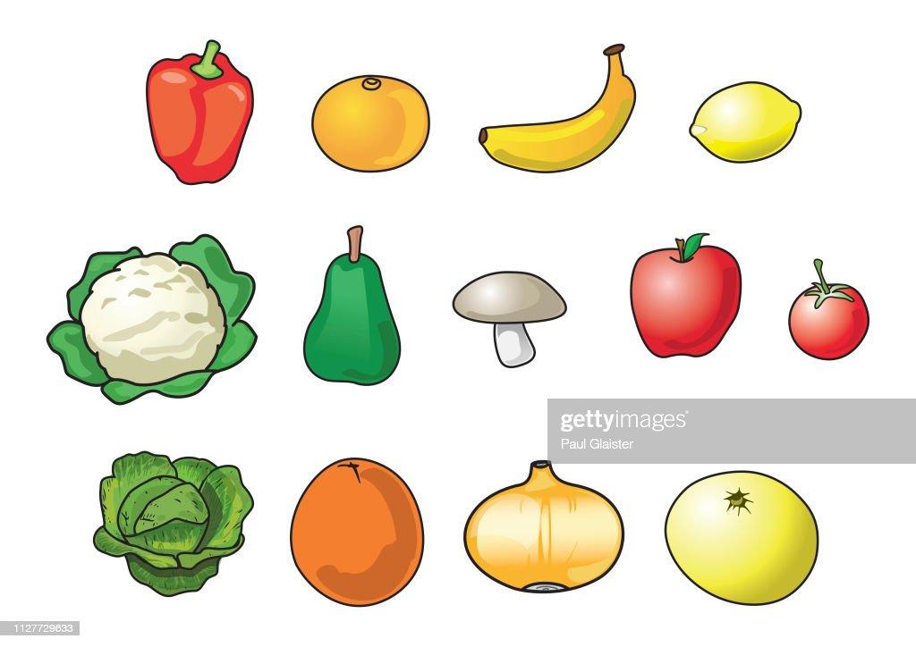 Fruits Et Légumes Graphiques De Dessin Animé Dicône