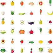 Fruit and vegetable big flat icons set.