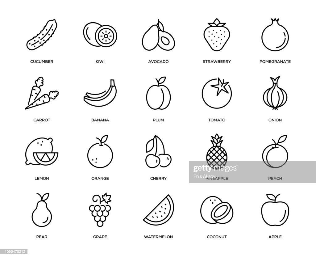 Fruit and Vegetable Icon Set : stock illustration