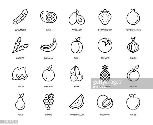 fruit and vegetable icon set - line art stock illustrations