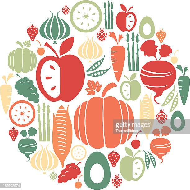 fruit and vegetable icon set - turnip stock illustrations, clip art, cartoons, & icons