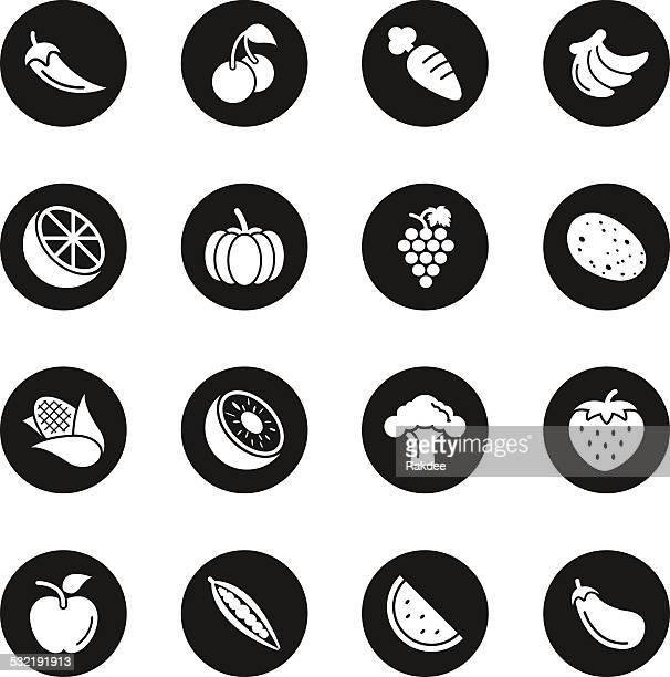 fruit and vegetable icons set 1 - black circle series - broccoli stock illustrations, clip art, cartoons, & icons