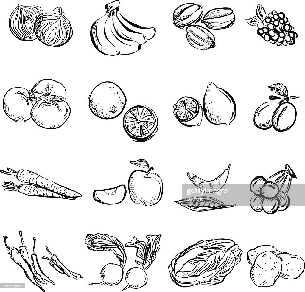 Fruit and vegetable in charcoal sketch style