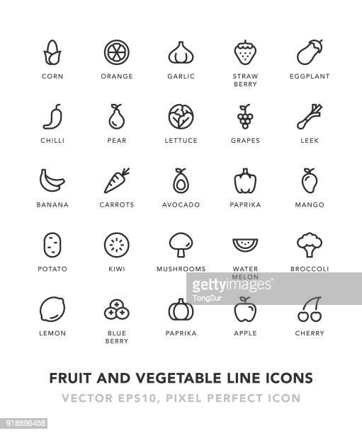 fruit and vegetable line icons - pepper vegetable stock illustrations