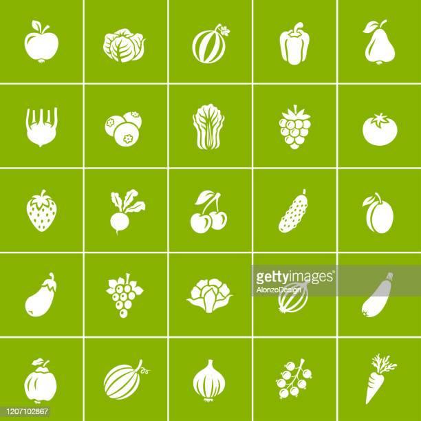 果物と野菜。オーガニック食品アイコンセット。 - 食材点のイラスト素材/クリップアート素材/マンガ素材/アイコン素材