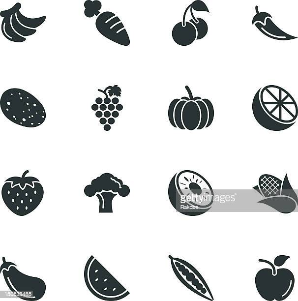 fruit and vegetable silhouette icons | set 1 - broccoli stock illustrations, clip art, cartoons, & icons