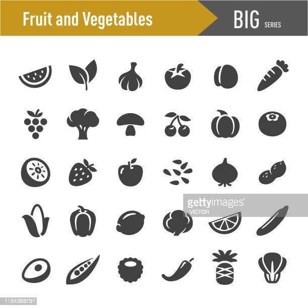 fruit and vegetables icons - big series - sesame stock illustrations