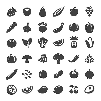 Fruit and Vegetables Icons - Big Series - gettyimageskorea