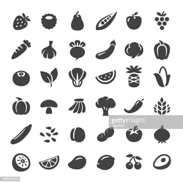 fruit and vegetables icons - big series - nut food stock illustrations