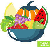 fruit and vegetables in a bowl
