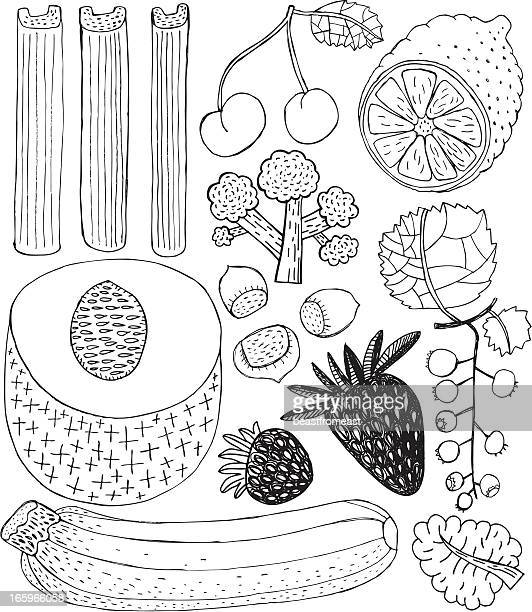fruit and vegetables - marrom stock illustrations