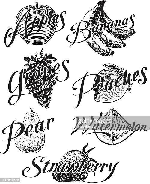 Fruit, Apple, Banana, Grape, Strawberry, Peach, Pear, Watermelon