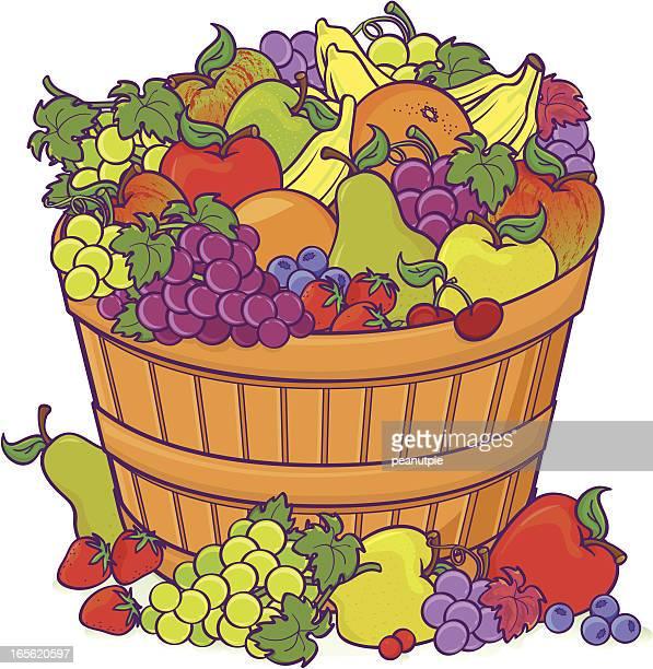ilustrações de stock, clip art, desenhos animados e ícones de cesto de frutas de prémios - cesta de fruta