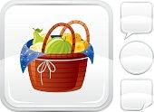 Fruit basket icon on silver button