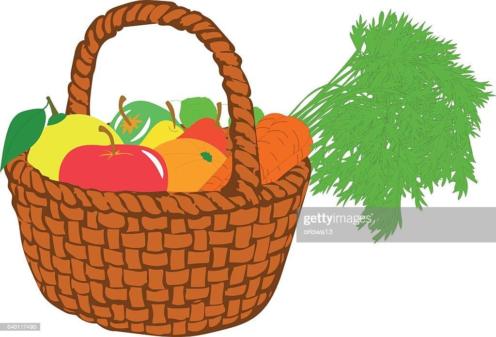 Fruit basket, vector illustrations on a transparent background