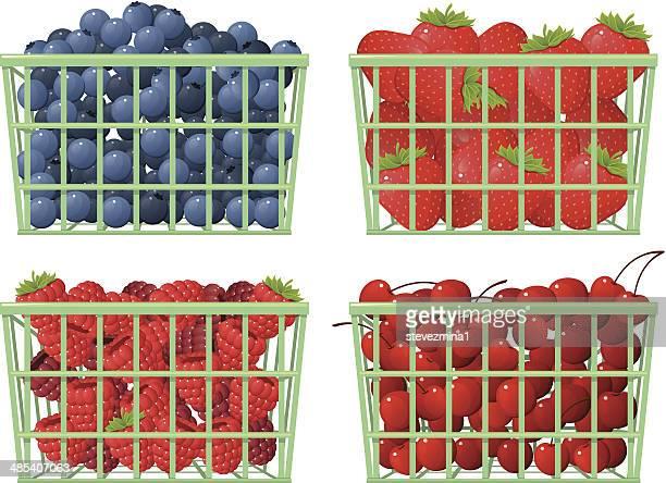 fruit baskets - blueberry stock illustrations, clip art, cartoons, & icons