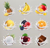Fruit, berries and yogurt. Mango, banana, pineapple, apple, orange, chocolate, melon, coconut. 3d vector icon set 2