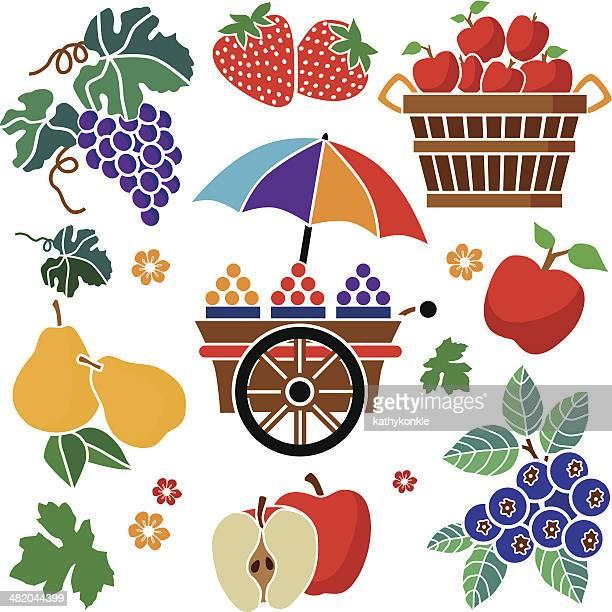 ilustraciones, imágenes clip art, dibujos animados e iconos de stock de elementos de diseño de cesta de frutas - puesto de mercado