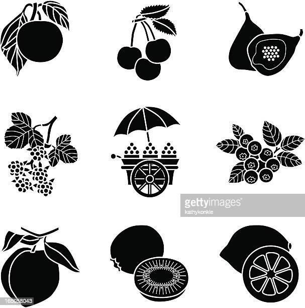 fruit cart icons - blueberry stock illustrations, clip art, cartoons, & icons