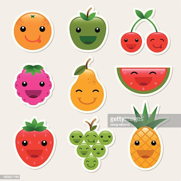 fruit character icons - raspberry stock illustrations, clip art, cartoons, & icons