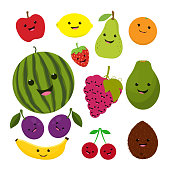 fruit characters isolated on white